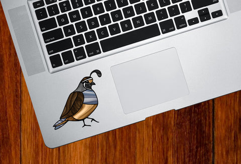 "CLR:TP - Bird - Quail - Stained Glass Style - Opaque - Vinyl Tablet Trackpad Decal ©YYDC (SM 3""w x 2.5""h)"