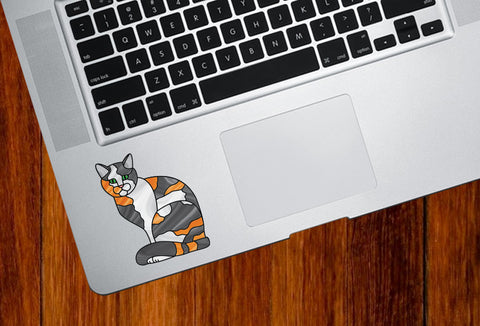 CLR:TP - CALICO Charming Cat Stained Glass Style - Vinyl Decal for Trackpad | Laptops | Trackpad | Tablet © YYDC (Color Choices Available)