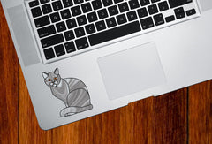 CLR:TP - GREY Charming Cat Stained Glass Style - Vinyl Decal for Trackpad | Laptops | Trackpad | Tablet © YYDC (Size and Color Choices)