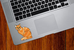 CLR:TP - ORANGE Charming Cat Stained Glass Style - Vinyl Decal for Trackpad | Laptops | Trackpad | Tablet © YYDC (Size and Color Choices)