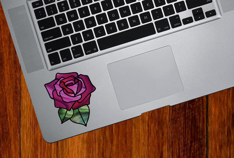 "CLR:TP - Rose Stained Glass -D1- Small Vinyl Decal for Trackpad | Tablet | Appliance  - © YYDC (2.75""w x 2.75""h) (Color Choices)"