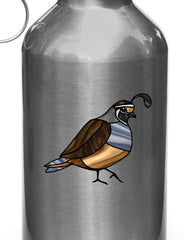 "CLR:WB - Quail Bird - Stained Glass Style - Opaque - Vinyl Water Bottle Decal ©YYDC (SM 3""w x 2.5""h)"