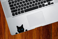"CLR:TP - Cat Soon Eyes - Contour Cut Color Vinyl Trackpad Decal (2.5""w x 1.5""h) (BLACK w/ Color Eyes)"