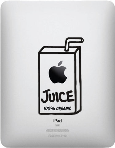 "IPAD - Apple Juice Box 100% Organic - iPad or Tablet Vinyl Decal (3""w x 5""h) (BLACK)"