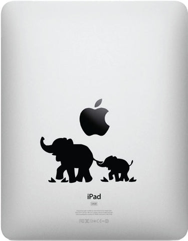 "iPAD - Elephant Mom and Baby - D1 - iPad Tablet - Vinyl Decal (3.75""w x 1.75""h) (BLACK)"