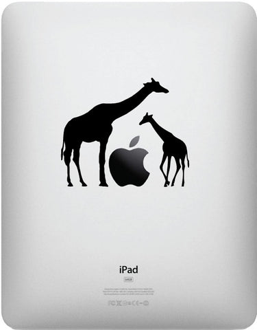 "iPAD - Giraffe Mom and Baby - iPad - Vinyl Decal Sticker (3.5""w x 3""h) (Color Choices)"