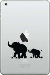 "iPAD-M - Elephant Mom and Baby - D1 - iPad Mini - Vinyl Decal (3.75""w x 1.75""h) (Color Choices)/"