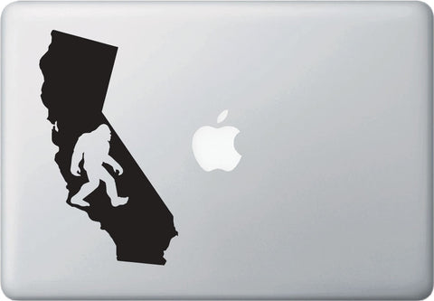 "MB - Sasquatch in CALIFORNIA - Bigfoot - Vinyl Macbook Laptop Decal - YYDC (4""w x 7""h) (Color Choices)"