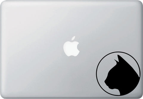 "MB - Silhouette Cat with Outline - Laptop Decal - ©YYDC (4""w x 4""h) (Color Choices)"