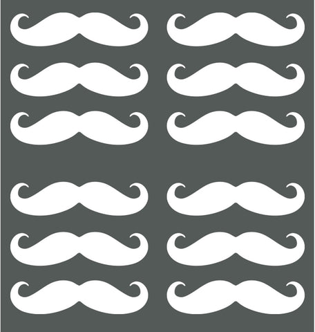"Mustache 12 Pack - Matte Vinyl Transfer Decals - DIY Wallpaper - © Yadda-Yadda Design Co. (each 2""w x .05""h) (COLOR CHOICES)"