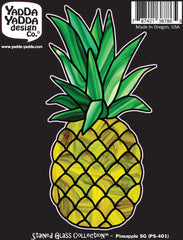 "PS-401 - Pineapple Stained Glass Style - Peel and Stick Vinyl Decal - ©YYDC (2.75""w x 5.75""h)"