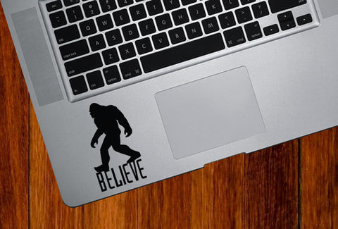"TP - Sasquatch Bigfoot Yeti - BELIEVE - D1 - Laptop Vinyl Decal - YYDC (1.75""w x 3""h) (COLOR CHOICES)"
