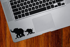 "TP - Elephant Mom & Baby - D1 - Trackpad / Keyboard Vinyl Decal (3.75""w x 1.75""h)(Color Variations)"