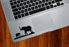 "TP - iPAD - Elephant Mom & Baby - D2 - iPad | Tablet | Trackpad - Vinyl Decal (3.75""w x 1.75""h) (BLACK)"