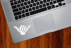 "TP - Skeleton Hand SHAKA - Vinyl Trackpad Decal Tablet Sticker (3.5""w x 2.25""h) © YYDC"