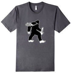TS-101 Bong Squatch - Smokin Sasquatch w Water Pipe - Bigfoot Smoke Cloud - T-Shirt - Copyright 2016 Yadda-Yadda Design Co.