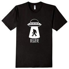 TS-105 - Sasquatch UFO Abduction BELIEVE - Bigfoot - Alien T-Shirt - Copyright 2016 Yadda-Yadda Design Co.