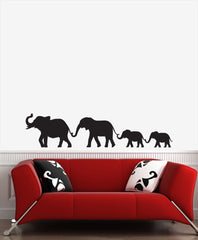 WALL - Elephant Family Walking Holding Trunks - Vinyl Wall Decal © 2016 YYDCo. (Size and Color Choices)