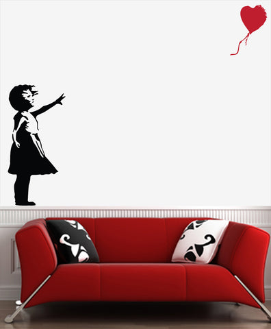 "WALL - Lost Balloon Girl - D2 - Wall Vinyl Decal (19""w x 40""h) (BLACK w Balloon Color Choices)"