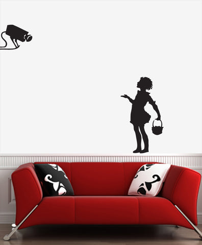 "WALL - Camera Girl - Wall Vinyl Decal (20""w x 30""h) (BLACK)"