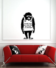 "WALL - Chimp ""Laugh Now"" - Wall or Door Vinyl Decal - (22""w x 42""h) (BLACK)"