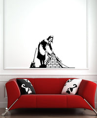 "WALL - Maid Sweeping - Wall Vinyl Decal (30""w x 24""h) (BLACK)"