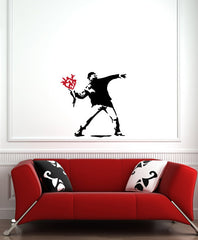 "WALL - Molotov Guy with Flowers - Wall Vinyl Decal (24""w x 24""h) (BLACK w/ RED)"