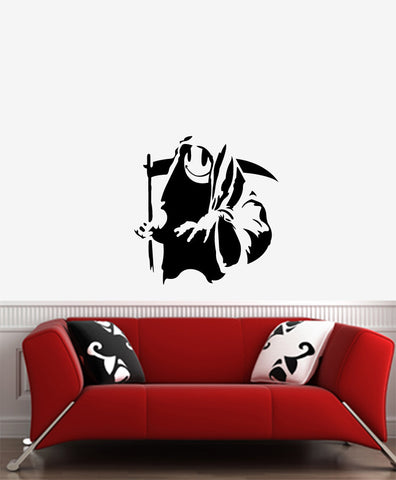 "WALL - Smiley Face Grim Reaper - Wall Vinyl Decal (21""w x 22""h) (BLACK)"