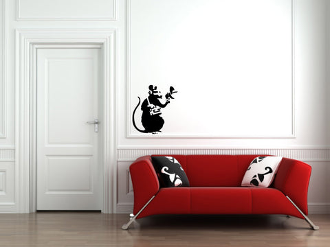 "WALL - Recording Rat - Wall Vinyl Decal (20""w x 22""h) (BLACK)"