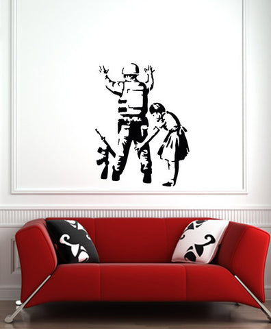"WALL - Banksy Style - Girl Frisking Soldier - Wall or Door Vinyl Decal - (22""w x 28""h) (BLACK)"