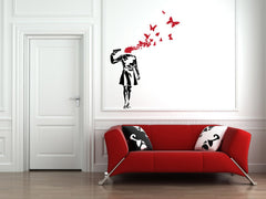 WALL - Suicide Butterflies - Wall Vinyl Decal - (BLACK w RED)