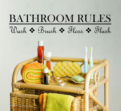 "Bathroom Rules - Design 1 - Humor Funny Wall Vinyl Sticker Decal  © YYDC. (21.75""w x 4""h) (Color Choices)"