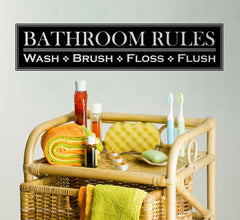 "Bathroom Rules - Design 2 - Humor Funny Wall Vinyl Sticker Decal  © YYDC. (21.75""w x 5""h) (Color Choices)"