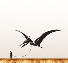 "Dinosaur Pet - Child with Pterodactyl - Wall Vinyl Decal Sticker - ©YYDC (36""w x 20""h) (Variations Available)"