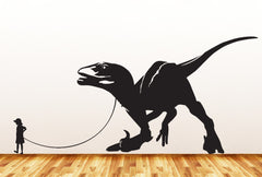 "Dinosaur Pet - Child with Velociraptor - Wall Vinyl Decal Sticker - ©YYDC (36""w x 17""h) (Variations Available)"