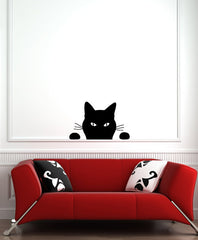 "WALL - Black Cat - Soon Cat - Wall Vinyl Decal (22""w x 13.75""h) (BLACK)"