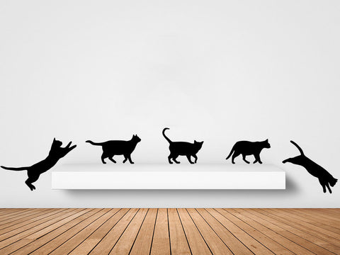 WALL - Five Cats Walking Decal - Wall Vinyl Decal - © 2016 YYDC (Color Choices)