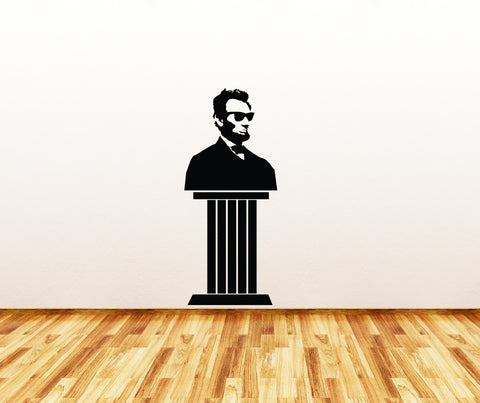 "WALL - Cool Abe Pedestal Statue - Wall or Door Vinyl Decal © 2014 YYDC (17""w x 40""h) (BLACK)"