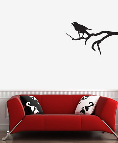 "WALL - Crow on Branch - Wall Vinyl Decal (25""w x 16""h) (BLACK)"