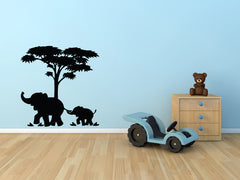 "WALL - Elephant Mom and Baby Under Tree - Vinyl Wall Decal YYDCo. (22""w x 22""h) (Color Choices Available)"