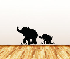 WALL - Elephant Mom and Baby - No Tree - Wall or Door Vinyl Decal (Color and Size Choices Available)