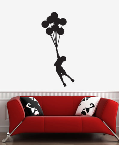 WALL - Flying Balloon Boy - Wall Vinyl Decal - © YYDC (BLACK) (Size Choices)