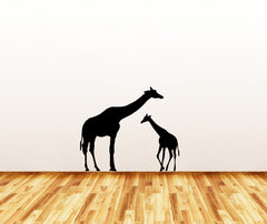 "WALL - Giraffe Mom and Baby - Wall or Door Vinyl Decal (22""w x 18""h) (Color Variations Available)"