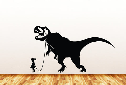 "Dinosaur Pet - Child with Tyrannosaurus Rex - Wall Vinyl Decal Sticker - ©YYDC (37""w x 21""h) (Variations Available)"