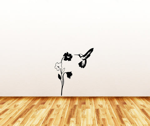 "WALL - Hummingbird and Flower - Wall or Door Vinyl Decal (20""w x 25""h) (COLOR CHOICES)"