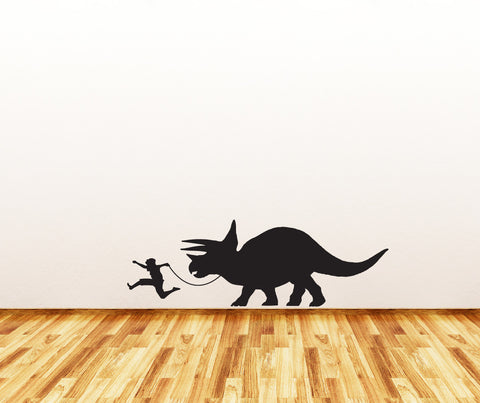 "WALL - Triceratops Walker - Wall Vinyl Decal Sticker - ©YYDC (40""w x 13""h) (BLACK)"