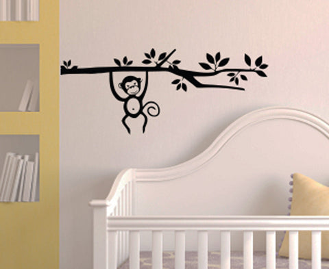 "WALL - Monkey on Branch - Wall Vinyl Decal  © YYDC (27""w x 11""h) (Color Choices)"