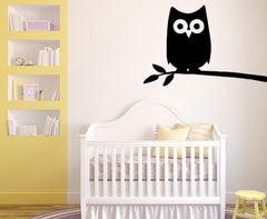WALL - Owl on Branch - Night Owl - D2 - Wall Vinyl - (Color & Size Choices)