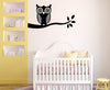 "WALL - Owl on Branch - Wall Vinyl Decal - (43""w x 22""h) (Color Choices)"