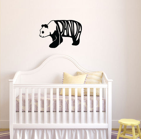 WALL - Happy Panda - Text - Wall Vinyl Decal ©YYDC (Color and Size Choices)